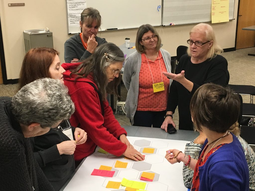 A group of teachers talk and gesture around a table with sticky notes.