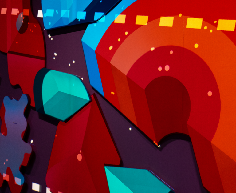 A playful mix of colorful shapes, overlayed with animations.