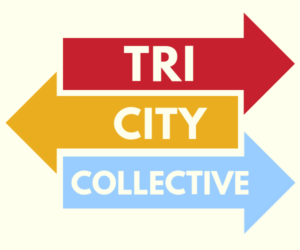 Logo for Tri-City Collective with red, yellow, and blue arrows.