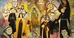 A colorful contemporary painting in the style of religious altars, depicting human figures.